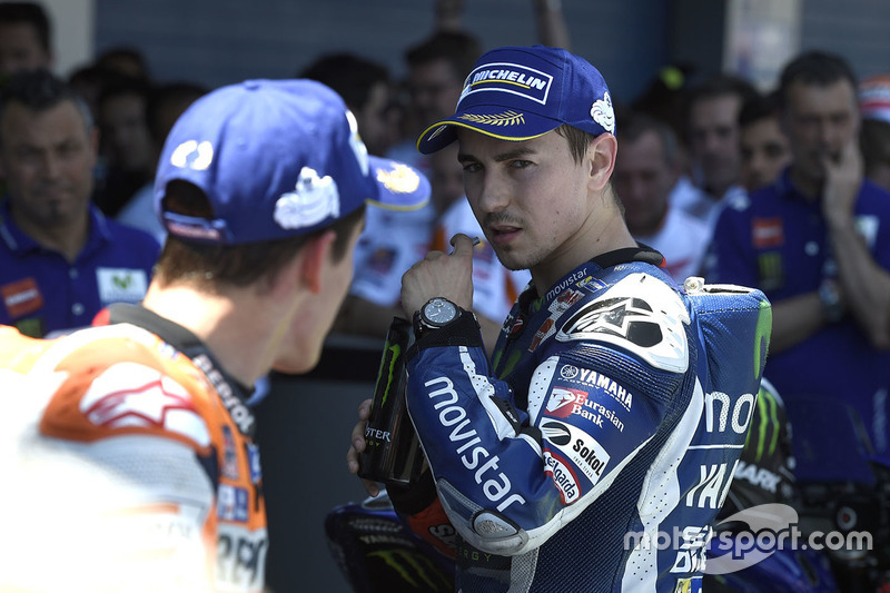 Second place Jorge Lorenzo, Yamaha Factory Racing and third place Marc Marquez, Repsol Honda Team in parc ferme