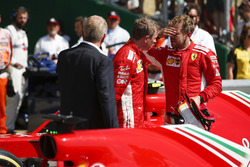 Kimi Raikkonen, Ferrari ve yarış galibi Sebastian Vettel, Ferrari, Parc Ferme