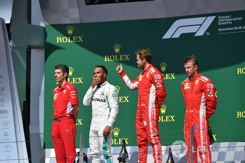 Claudio Albertini, Ferrari, Lewis Hamilton, Mercedes-AMG F1, Sebastian Vettel, Ferrari, Kimi Raikkonen, Ferrari