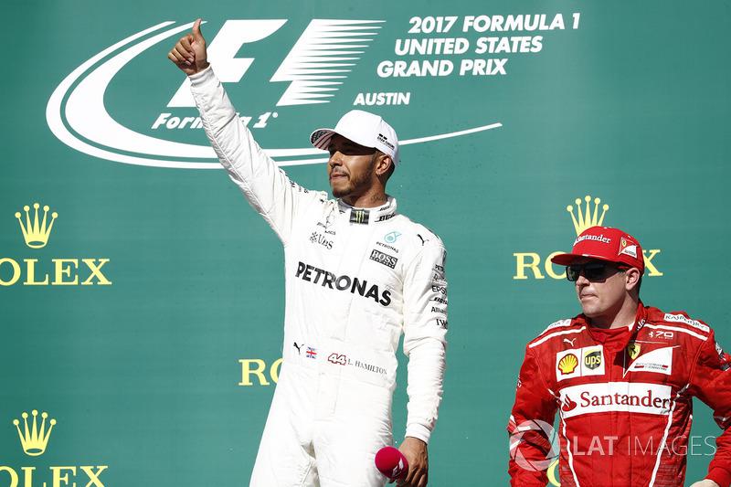Race winner Lewis Hamilton, Mercedes AMG F1, third place Kimi Raikkonen, Ferrari