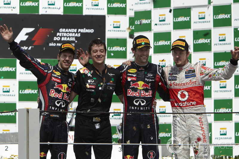 2011: 1. Mark Webber, 2. Sebastian Vettel, 3. Jenson Button