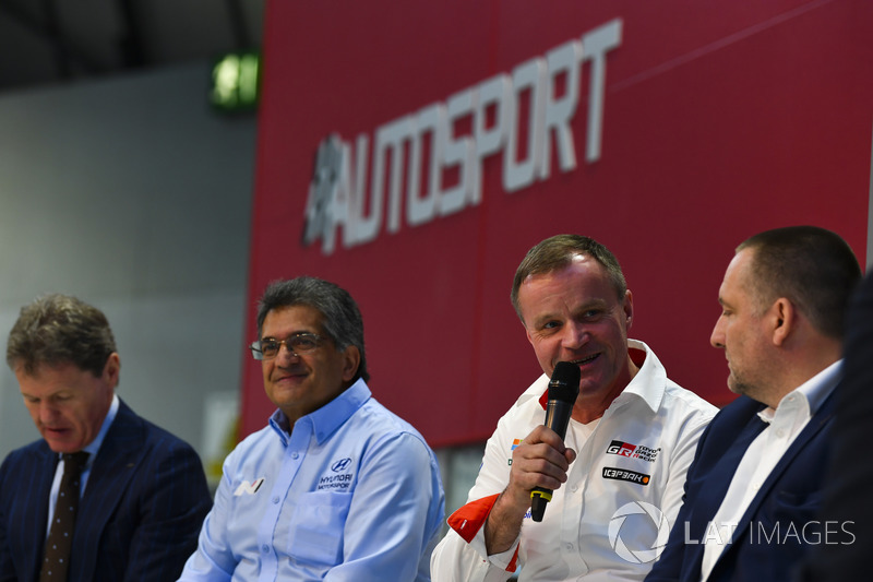 Malcolm Wilson, Michel Nandan, Tommi Makinen and Yves Matton talk to Henry Hope-Frost on the Autosport Stage