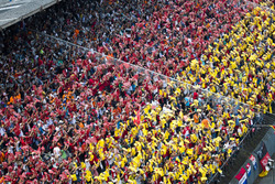 Fans organised into the colours of the German flag