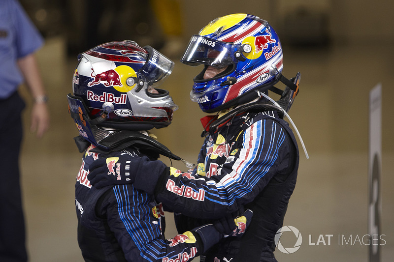 Winnaar Sebastian Vettel, Red Bull Racing, en de als tweede gefinishte Mark Webber, Red Bull Racing