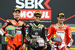 Podium: second place Chaz Davies, Aruba.it Racing-Ducati SBK Team, Race winner Jonathan Rea, Kawasaki Racing, third place Xavi Fores, Barni Racing Team