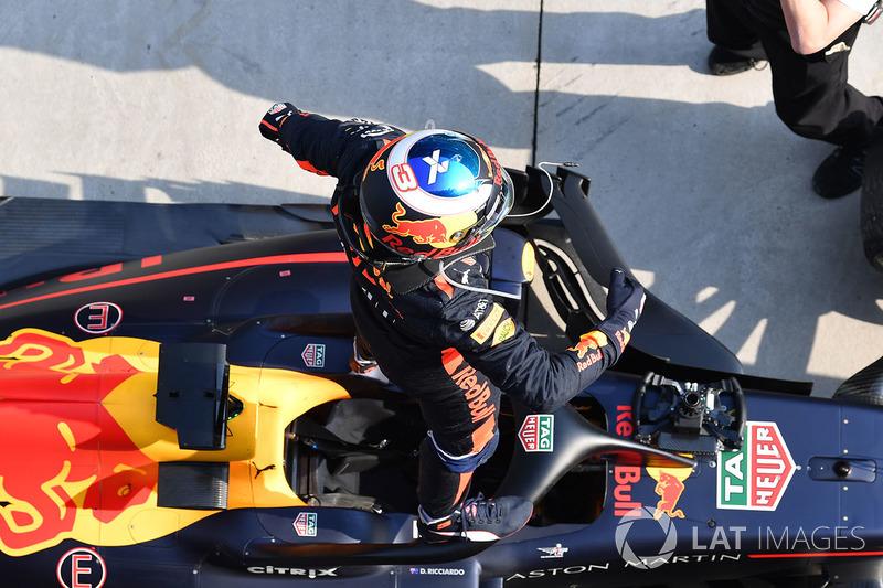 Race winner Daniel Ricciardo, Red Bull Racing RB14 celebrates in  parc ferme