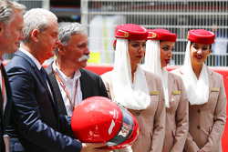 Sean Bratches, Managing Director of Commercial Operations, Formula One Group, Thierry Antinori, Executive Vice President and Chief Commercial Officer, Emirates Airlines, and Chase Carey, Chairman, Formula One