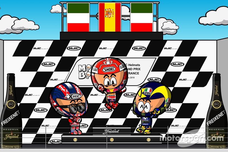 El podio del GP de Francia de MotoGP 2018, por MiniBikers