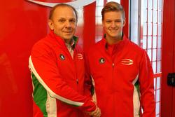 Mick Schumacher with Angelo Rosin, Prema Team Principal