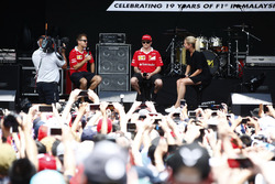 Sebastian Vettel, Ferrari, Kimi Raikkonen, Ferrari, on the stage