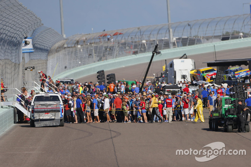 Fans leave the frontstretch