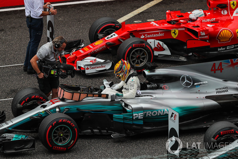 Lewis Hamilton, Mercedes-Benz F1 W08  arrives to celebrate in parc ferme