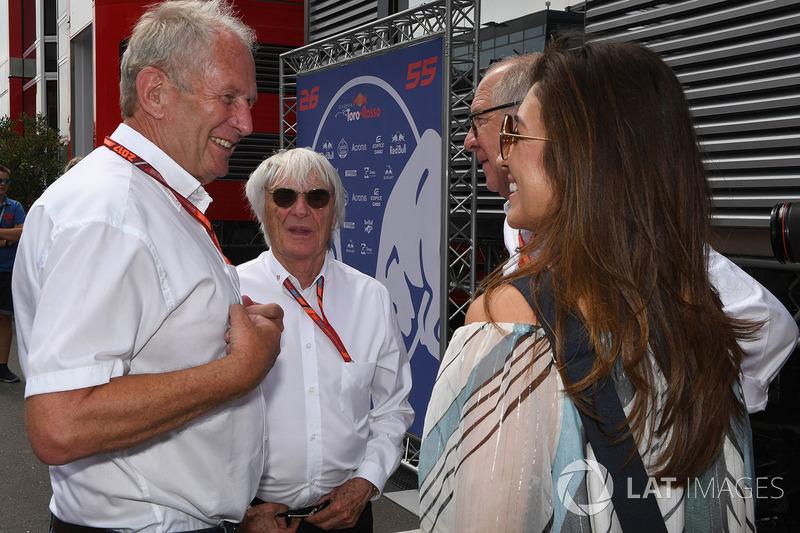 Dr Helmut Marko, Red Bull Motorsport Consultant, Bernie Ecclestone, Fabiana Ecclestone