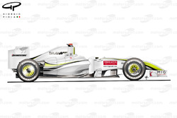 Brawn BGP 001 2009 Valencia side view