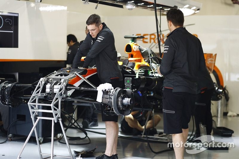 McLaren mechanics at work