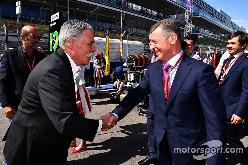 Chase Carey, Chief Executive Officer and Executive Chairman of the Formula One Group and Dmitry Koza