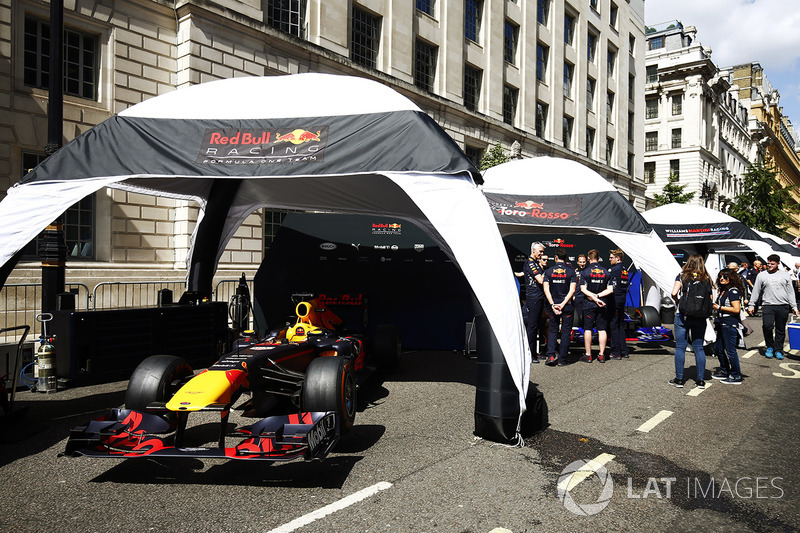 The Red Bull Racing RB13 is prepared for a demo run