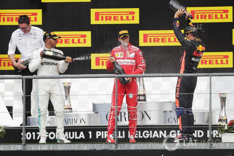 Podium: second place Sebastian Vettel, Ferrari, Race winner Lewis Hamilton, Mercedes AMG F1, third place Daniel Ricciardo, Red Bull Racing