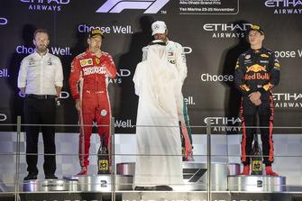 Bradley Lord, Head of Mercedes-Benz Motorsport Communications, Sebastian Vettel, Ferrari, Lewis Hamilton, Mercedes AMG F1 and Max Verstappen, Red Bull Racing celebrates on the podium