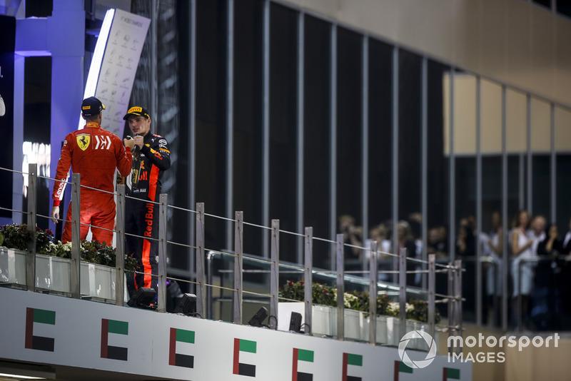 Sebastian Vettel, Ferrari e Max Verstappen, Red Bull Racing, festeggiano sul podio