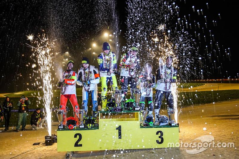 Winners (Left to Right): Mattia Pasini and Lorenzo Baldassarri, Valentino Rossi and Franco Morbidelli, Dennis Foggia and Federico Fuligni