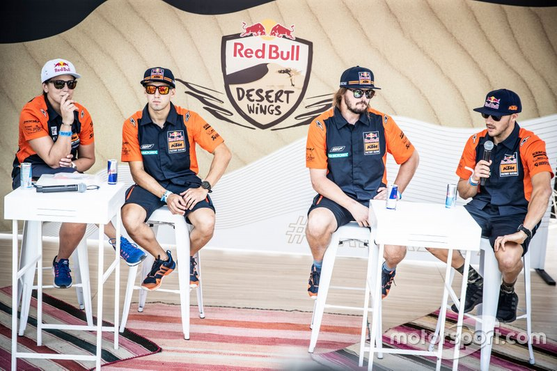 #17 Red Bull KTM Factory Racing KTM: Laia Sanz, #77 Red Bull KTM Factory Racing KTM: Luciano Benavides, #3 Red Bull KTM Factory Racing KTM: Toby Price, #14 Red Bull KTM Factory Racing KTM: Sam Sunderland