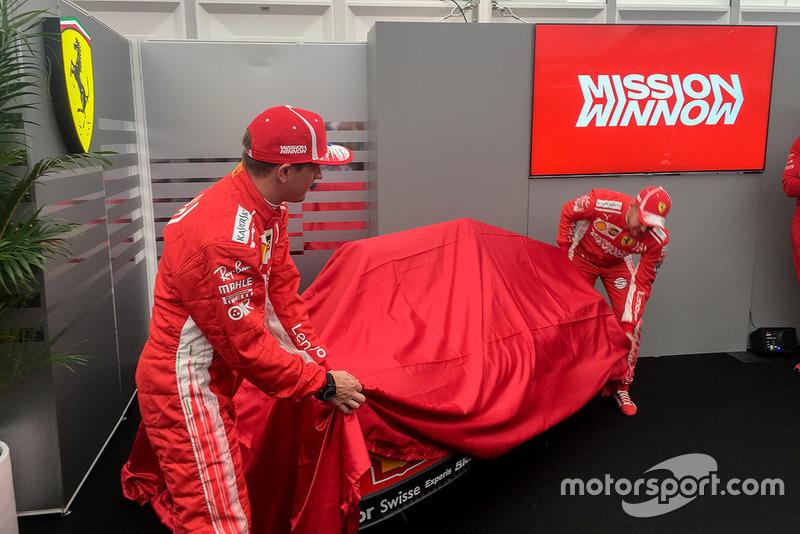 Sebastian Vettel, Kimi Raikkonen, Ferrari, présentent la livrée Mission Winnow