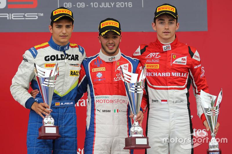 Podium: Sieger Antonio Fuoco, Trident; 2. Alex Palou, Campos Racing; 3. Charles Leclerc, ART Grand Prix