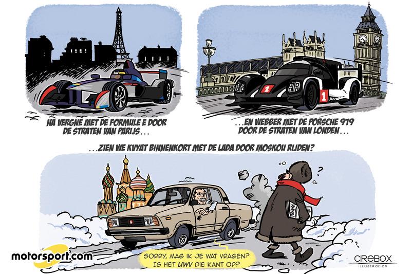 Cartoon van Cirebox - De 'demo' van Kvyat in Moskou...