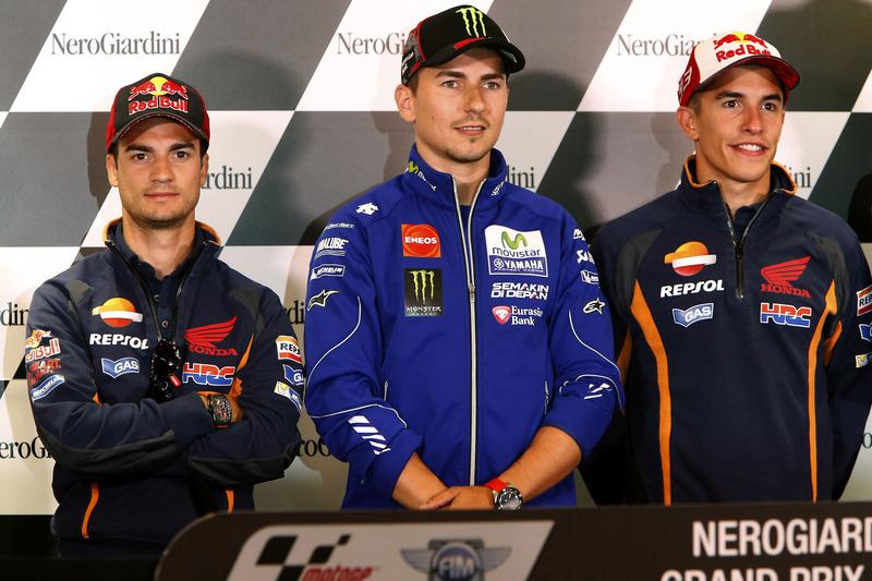 Dani Pedrosa, Repsol Honda Team, Jorge Lorenzo, Yamaha Factory Racing e Marc Marquez, Repsol Honda T