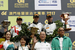 Podium: Race winner Edoardo Mortara, Mercedes-AMG Team Driving Academy, Mercedes - AMG GT3, second place Robin Frijns, Audi Sport Team WRT, Audi R8 LMS, third place Maro Engel, Mercedes-AMG Team GruppeM Racing, Mercedes - AMG GT3