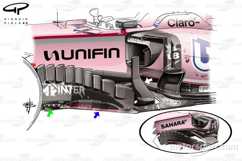 El bargeboard del Force India VJM10 en el GP de México