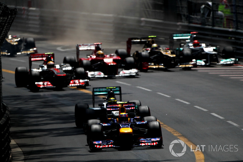 Mark Webber, Red Bull Racing RB8, Nico Rosberg, Mercedes F1 W03, Lewis Hamilton, McLaren MP4-27, Fernando Alonso, Ferrari F2012, Romain Grosjean, Lotus E20 y Michael Schumacher, Mercedes F1 W03