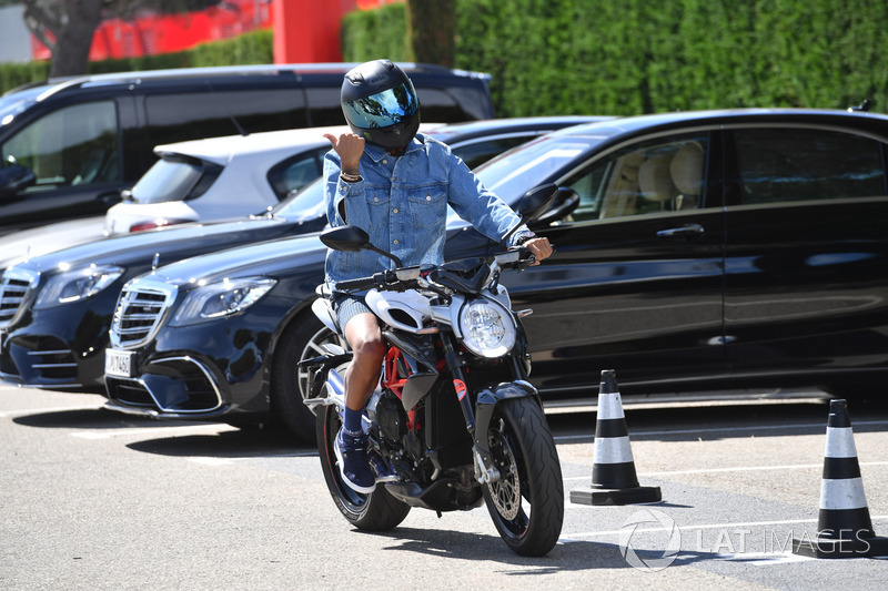 Lewis Hamilton, Mercedes-AMG F1 on his MV Agusta motorbike