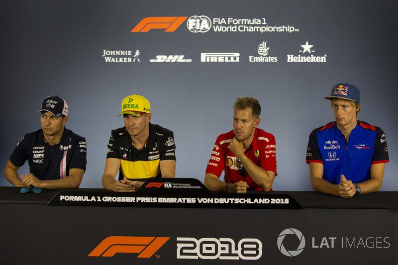 Sergio Perez, Force India, Nico Hulkenberg, Renault Sport F1 Team, Sebastian Vettel, Ferrari et Pierre Gasly, Scuderia Toro Rosso, en conférence de presse