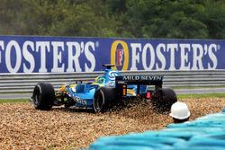Giancarlo Fisichella, Renault R26, in testacoda