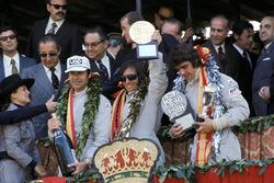 Podio: el ganador de la carrera Emerson Fittipaldi, Lotus, el segundo clasificado François Cevert, Tyrrell, el tercer clasificado George Follmer, Shadow