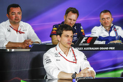 Eric Boullier, Racing Director, McLaren, Toto Wolff, Executive Director (Business), Mercedes AMG, Christian Horner, Team Principal, Red Bull Racing, and Paddy Lowe, Williams Formula 1, in the Team Principals Press Conference