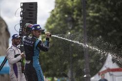 Sébastien Buemi, Renault e.Dams, celebrates on the podium