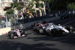 Felipe Massa, Williams FW40, Sergio Perez, Sahara Force India VJM10 and Esteban Ocon, Sahara Force India VJM10 at the restart