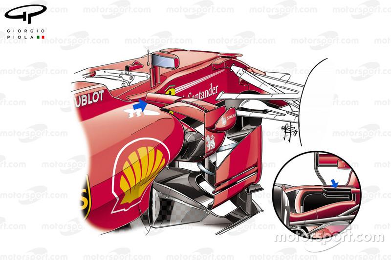Détails des conditionneurs d'air latéraux de la Ferrari SF70H