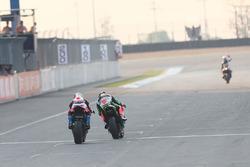 Marco Melandri, Ducati Team, Tom Sykes, Kawasaki Racing over the finish line