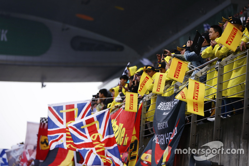 Hamilton fans in the grandstands