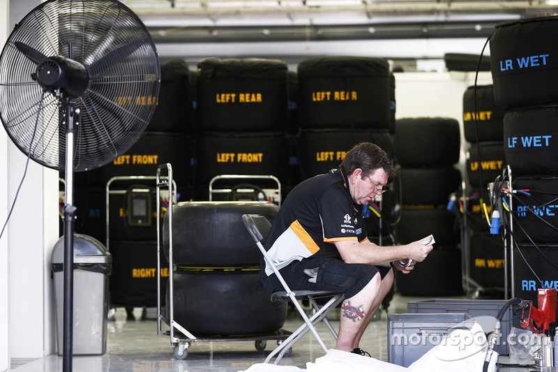 A member of the Force India team at work