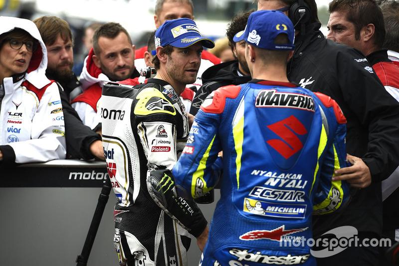 Polesitter Cal Crutchlow, Team LCR Honda, third position Maverick Viñales, Team Suzuki MotoGP