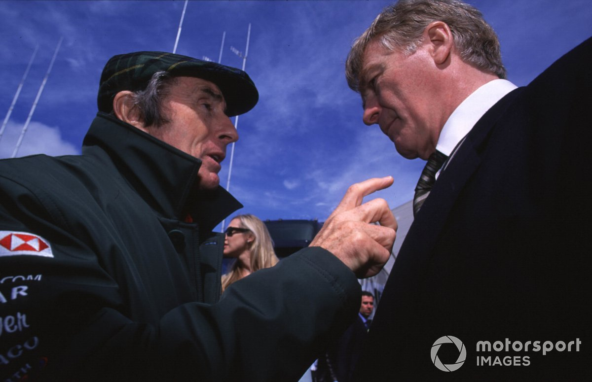 Jaguar Director Jackie Stewart with FIA President Max Mosley
