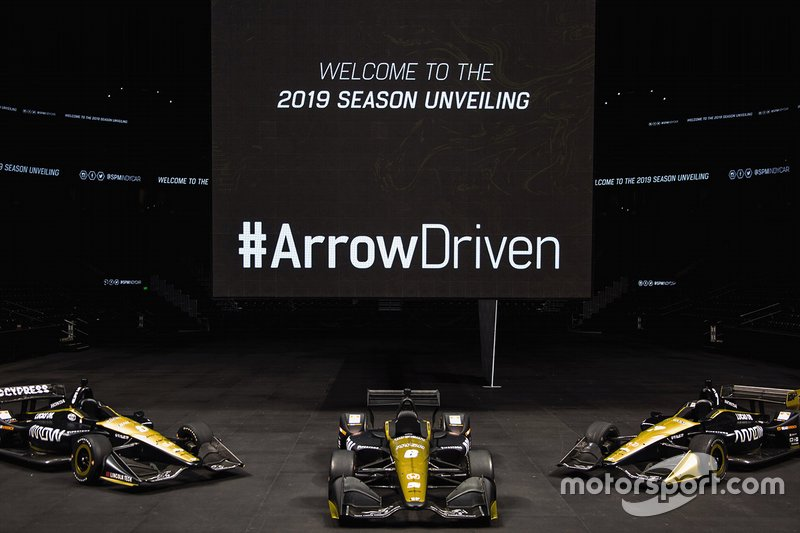 Arrow Schmidt Peterson Motorsports cars line up - #5 James Hinchcliffe, #6 Robert Wickens, #7 Marcus Ericsson.
