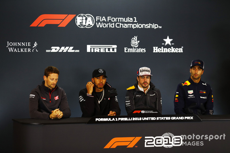 Romain Grosjean, Haas F1 Team,Lewis Hamilton, Mercedes AMG F1, Fernando Alonso, McLaren, and Romain Grosjean, Haas F1 Team, in the press conference.