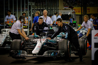 Lewis Hamilton, Mercedes AMG F1 car being brought to parc ferme post the race