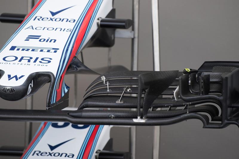 Un alerón delantero del Williams FW41